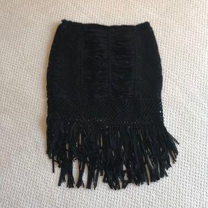 NWOT Bebe crochet and fringe black skirt